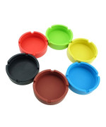 InnoLife - Set of 6 Colors - Eco-Friendly Colorfull Premium Silicone Rubber High Temperature Heat Resistant Round Design Ashtray