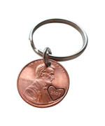 2007 Penny Keychain with Heart Around Year, Couples Keychain; 8 year Anniversary Gift, Hand Stamped Couples Keychain