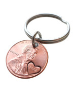 2008 Penny Keychain with Heart Around Year; 7 year Anniversary Gift, Hand Stamped Couples Keychain