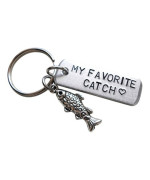 """Aluminum Tag Keychain Hand Stamped with """"My Favorite Catch"""" and Fish Charm Keychain, Hand Stamped Aluminum Tag; Hand Stamped Couples Keychain"""