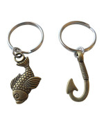 Bronze Fish and Hook Keychain - I'm Hooked On You; Couples Keychain