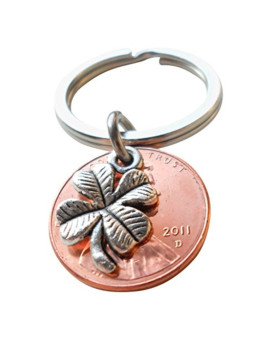 Clover Charm Layered Over 2011 Penny Keychain, Anniversary Gift, Couples Keychain