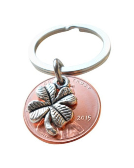 Clover Charm Layered Over 2015 Penny Keychain, Graduation Gift, Anniversary Gift, Couples Keychain