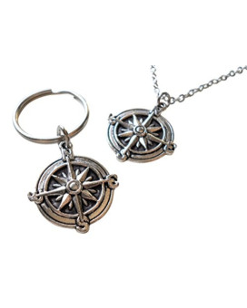 Compass Necklace & Compass Keychain Set - I'd Be Lost Without You; Couples Keychain