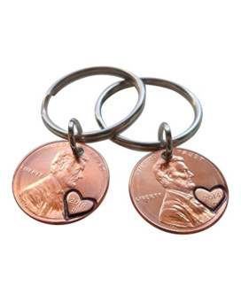 Double Keychain Set 2014 Penny Keychains with Heart Around Year; 1 Year Anniversary Gift, Birthday Gift, Hand Stamped Couples Keychain