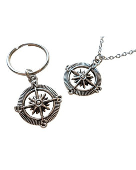 Open Metal Compass Necklace & Open Metal Compass Keychain Set - I'd Be Lost With Out You; Couples Keychain Set