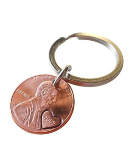 2009 Penny Keychain with Heart Around Year; Hand Stamped Couples Keychain