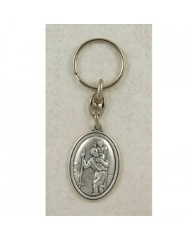 Saint Christopher Italian Silver OX Key Ring Chain, Excellent Craftsmanship and Made in the USA (760-61)