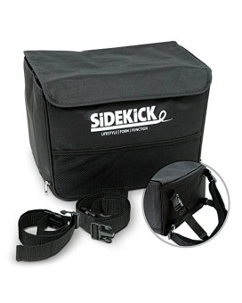 Sidekick Car Trash Can - Deluxe Version Waterproof With Lid - Reinforced Sides - Headrest Straps - Black