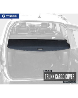 TYGER Black Retractable SUV Rear Trunk Cargo Cover Shield Fits 06-12 Toyota? Rav4 (Gives your Luggage & Baggage in SUV rear cargo trunk Anti-Theft visor shield security shade & UV protection!)