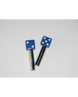 Dice Door Lock Knobs Blue with White Dots Pair of 2