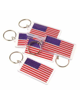 """US Toy USA American Flag Keychain Key Tags (Lot of 12), 2.5"""""""