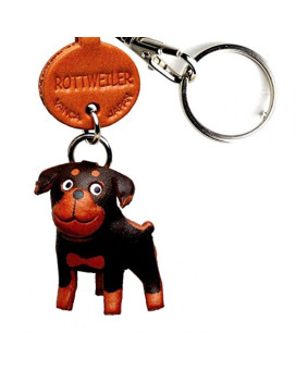 Rottweiler Leather Dog Small Keychain VANCA CRAFT-Collectible keyring Made in Japan