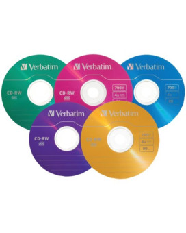 Verbatim 700 MB 2x-4x DataLifePlus Color Rewritable Disc CD-RW, 20-Disc Slim Case 94300