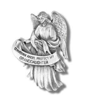 "Visor Clip of Guardian Angel 2 1/2""H-Protect My Granddaughter Pewter Antique Finish"