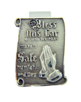 Pewter Bless this Car O Lord We Pray Visor Clip with Praying Hands, 1 1/2 Inch