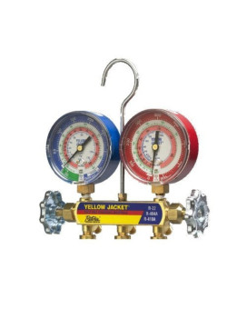 "Yellow Jacket 42005 Manifold Only with 3-1/8"" Color-Coded Gauges, psi, R-22/134A/404A (Clamshell)"