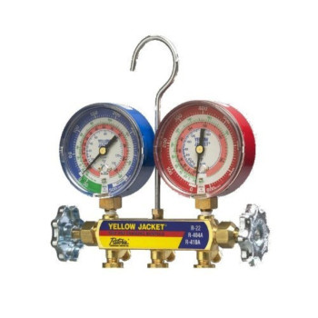 """Yellow Jacket 42005 Manifold Only with 3-1/8"""" Color-Coded Gauges, psi, R-22/134A/404A (Clamshell)"""