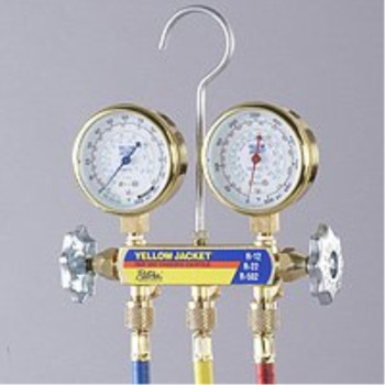 Yellow Jacket 42332 Series 41 Deluxe Manifold with Class 1 Brass Gauges, Manifold Only, psi