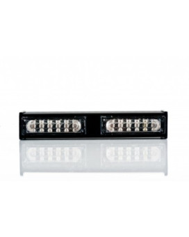 Abrams 2 Head LIN6 Emergency Vehicle Strobe Warning LED Dash & Deck Light Bar - All Colors Available - Blue/White