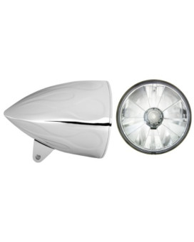 """Adjure HB54210-7 5-3/4"""" Flamed Chrome Sunset Boulevard Style Motorcycle Headlight Bucket Combo with Pie Cut Ice Headlamp and H4 Bulb (Part No: T50700)"""