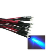 Qty 10- LED Lights- 3mm pre wired 12 volt leds- 12V Blue