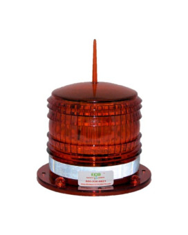 S8LF 2NM IP67 SOLAR LED with a BIRD SPIKE Marine Dock Barge Safety Beacon Light 360 Degree, Red