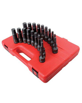 Sunex 2637 1/2-Inch Drive Metric and SAE Impact Hex Driver Master Set, 20-Piece