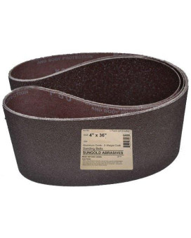 sungold abrasives 35063 4-inch by 36-inch 40 grit sanding belts premium industrial x-weight aluminum oxide, 3-pack