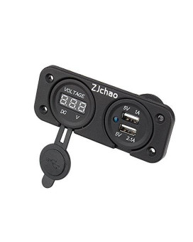 zjchao 2 usb port charger led duel with dc voltmeter digital for car boat marine carvan