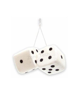 zone tech white with black spots hanging dices - 2 pair
