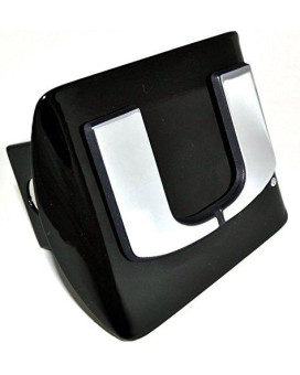 University of Miami METAL emblem (new logo) on black METAL Hitch Cover