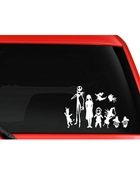 Disney Nightmare Before Christmas Jack Skellington and Family Vinyl for Laptops and Windows Halloween Decal Sticker 9.5 Inches White