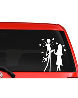 Jack and Sally Skellington Nightmare before Christmas Halloween fantasy car truck window laptop decal sticker 6 inches white