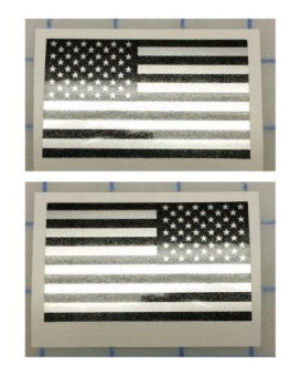 I Make DecalsTM - Ghosted US American subdued flag, FBA, Prime, silver with ghosted black print, 2 X 3, pair, Hard Hat, lunch box, vinyl decal car sticker