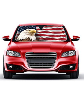 USA Eagle Flag Auto Sun Shade for Car SUV Truck - Stars & Stripes - Bubble Foil Jumbo Folding Accordion for Windshield