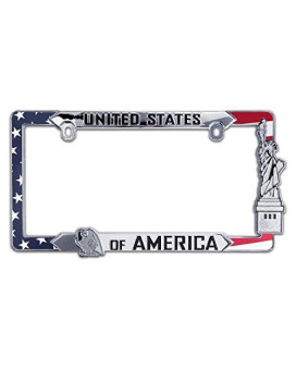 USA All Metal License Plate Frame