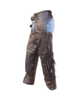 UNISEX Heavyduty Premium Buffalo Leather Braided Motorcycle Lined Chaps w FRINGES n silver hardware