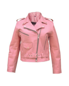 Women's AL2120 Basic full cut Motorcycle jacket Large Pink