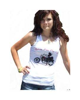 Women Motorcycle Lover TANK TOP for Lady Rider Biker Girl - White Size: XLarge.