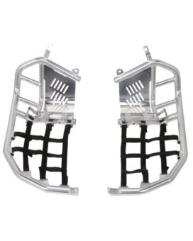 Tusk Foot Peg Nerf Bars With Heel Guards Silver With Black Webbing -Fits: Yamaha YFZ 450 2004-2009