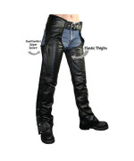 Xelement B7556 Womens Black Braided Zippered Leather Chaps - 10