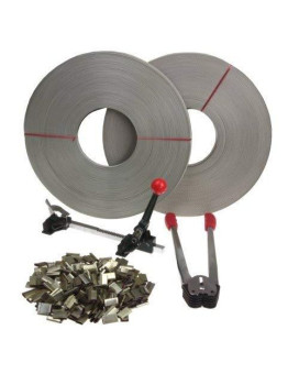 Anytime Tools Complete Packaging Strapping Tool Kit + 400 Seals + 2 Banding Rolls 345 Ft. Supply