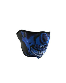 ZANheadgear Neoprene Half Skull Face Mask (Blue Chrome)