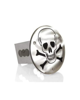 Skull Laser Cut Brushed Metal Tow Hitch Cover