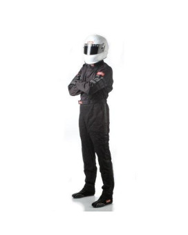 RaceQuip 110005 110 Series Large Black SFI 3.2A/1 Single Layer One-Piece Driving Suit