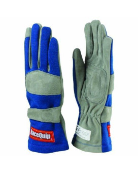 RaceQuip 351025 351 Series Large Blue SFI 3.3/1 One Layer Racing Gloves