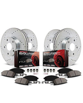 Power Stop K1560 Front and Rear Z23 Evolution Brake Kit with Drilled/Slotted Rotors and Ceramic Brake Pads