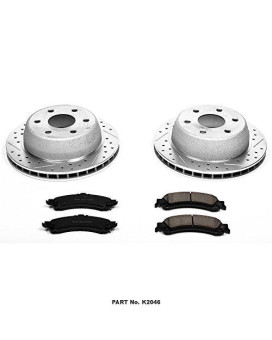 Power Stop K2046 Rear Z23 Evolution Brake Kit with Drilled/Slotted Rotors and Ceramic Brake Pads