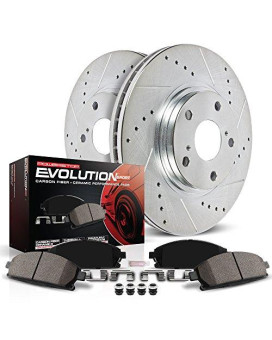 Power Stop K2405 Rear Z23 Evolution Brake Kit with Drilled/Slotted Rotors and Ceramic Brake Pads